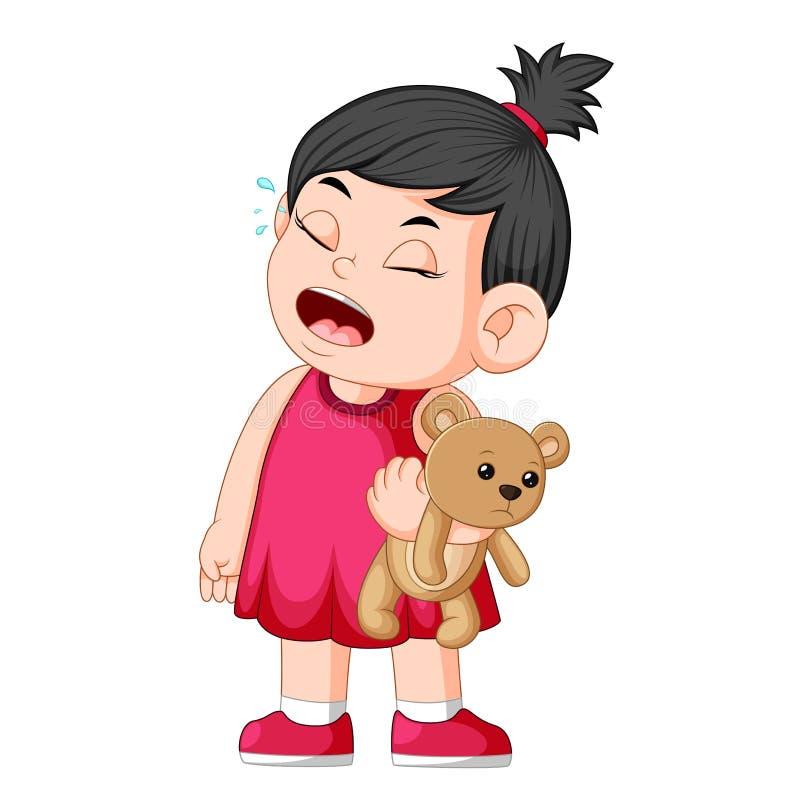 哭泣的女孩,当拿着一个棕色玩具熊时 库存例证