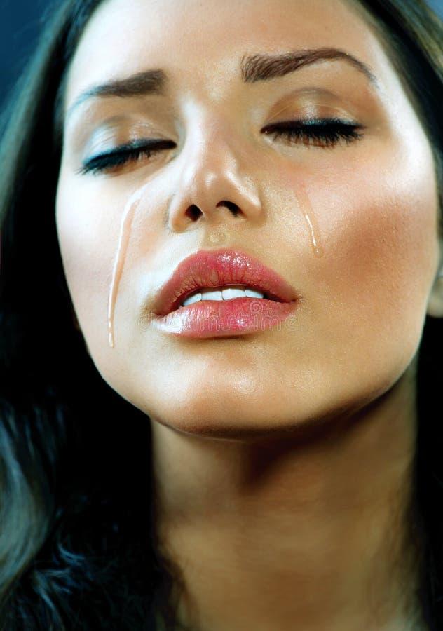 哭泣的妇女。泪花 免版税图库摄影