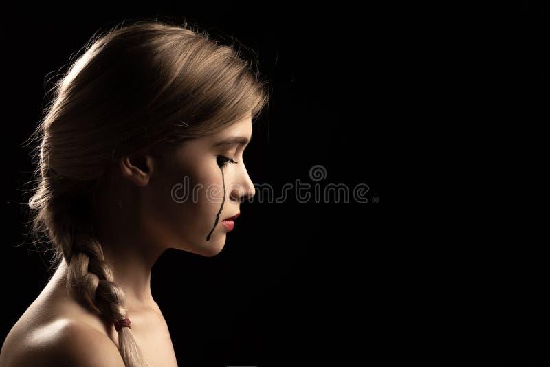 哭泣的妇女年轻人 库存照片