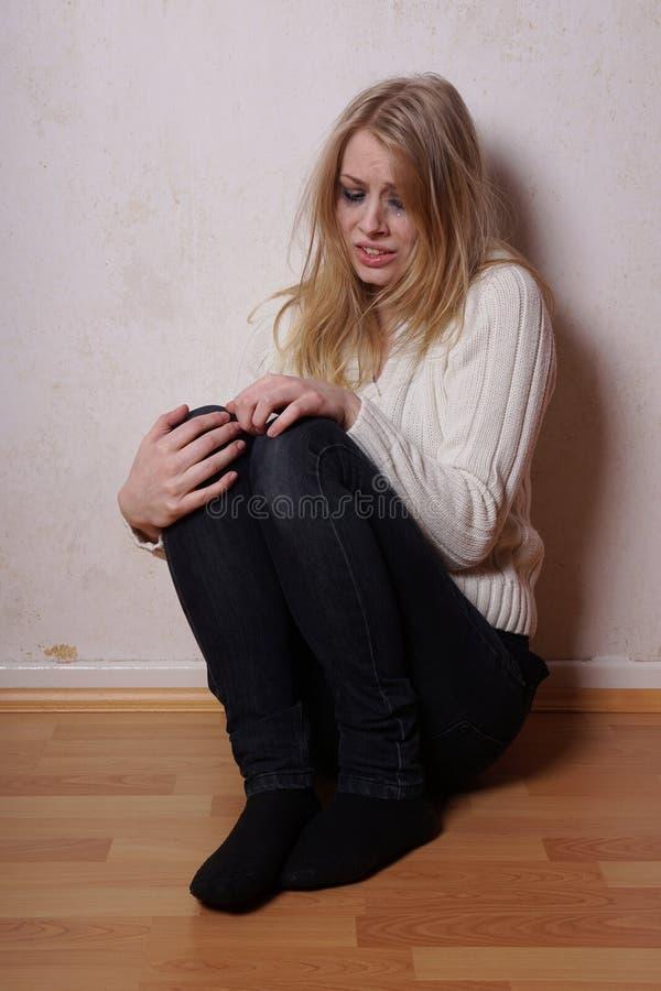 哭泣的妇女年轻人 库存图片