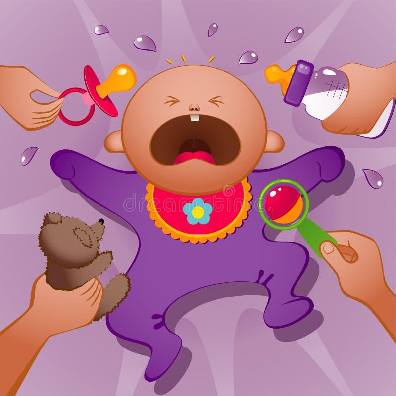 哭泣的婴孩 向量例证