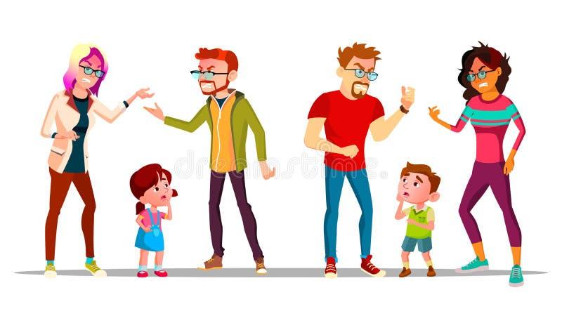 哭泣的孩子,由于父母与传染媒介离婚 向量例证