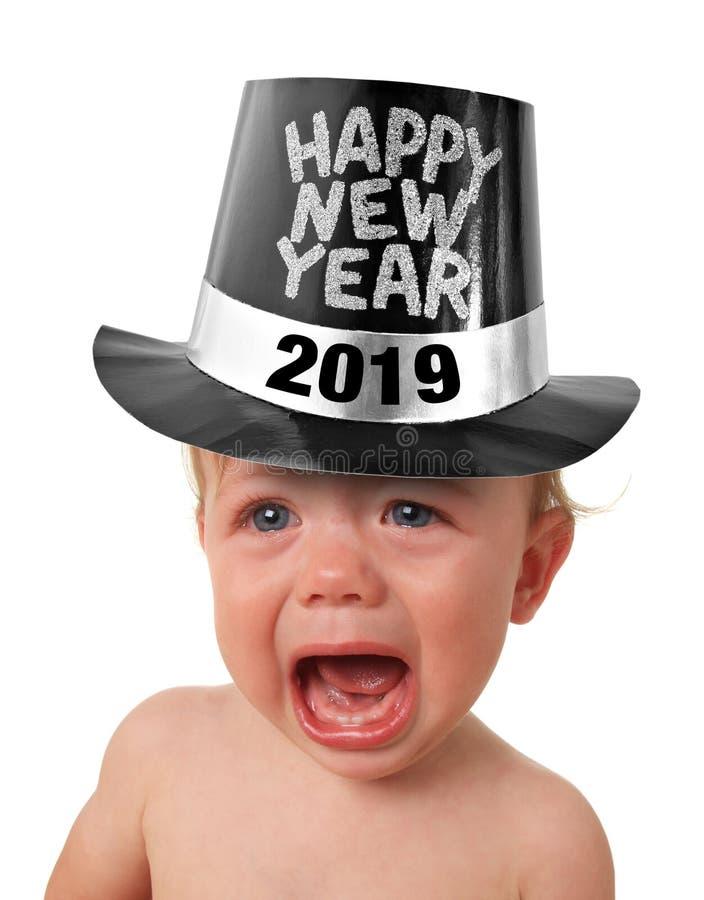 哭泣的新年婴孩2019年 免版税库存照片