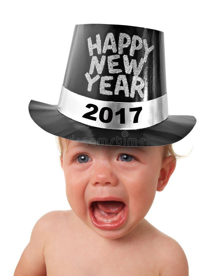 哭泣的新年婴孩 免版税图库摄影