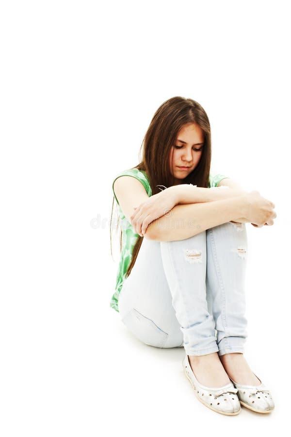 哭泣的消沉女孩偏僻青少年 免版税库存图片