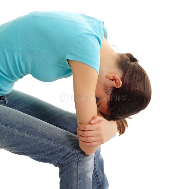 哭泣的消沉女孩偏僻青少年 库存照片