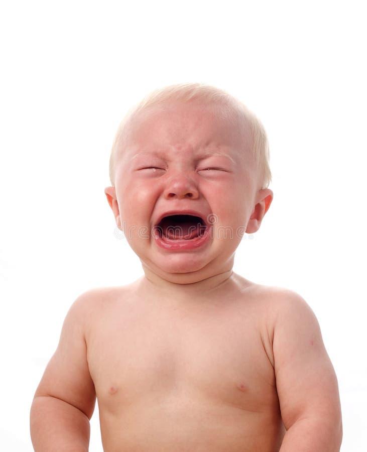 哭泣的男婴 免版税库存照片