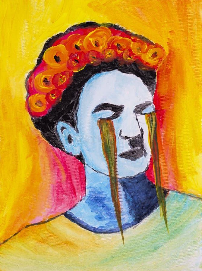 哭泣的芙烈达・卡萝绘了与丙烯酸酯 向量例证