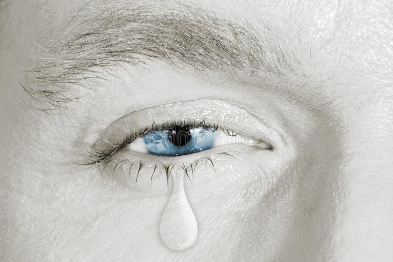 哭泣的蓝色右眼睛 库存照片