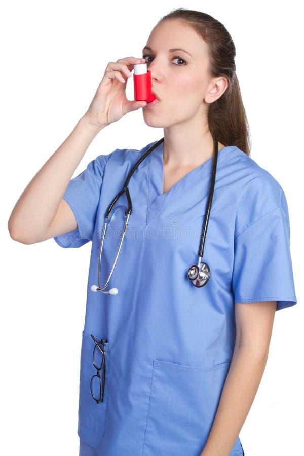 哮喘吸入器护士 库存照片