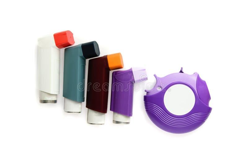 哮喘背景吸入器白色 免版税图库摄影