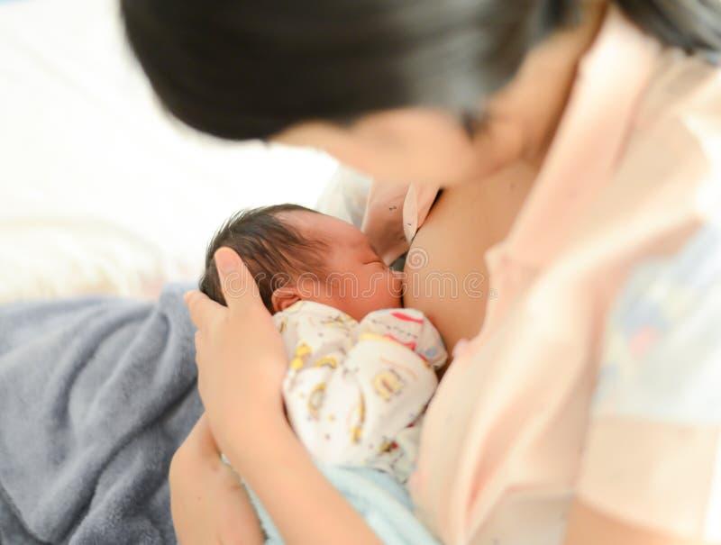 哺乳她的新生儿男孩,母乳的母亲 库存图片