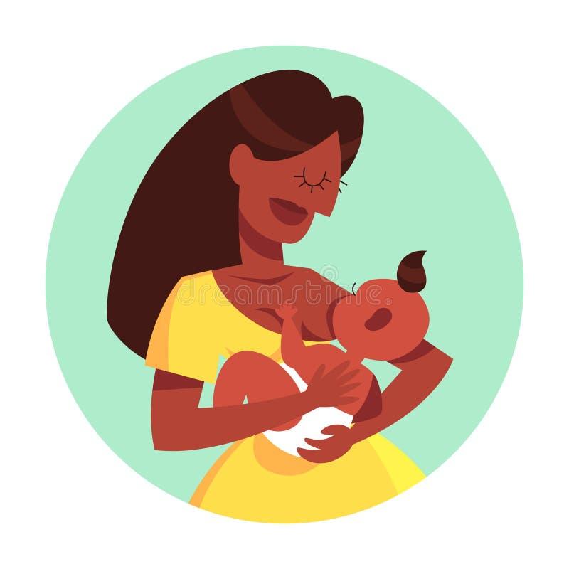 哺乳她的新生儿的母亲 育儿想法  皇族释放例证