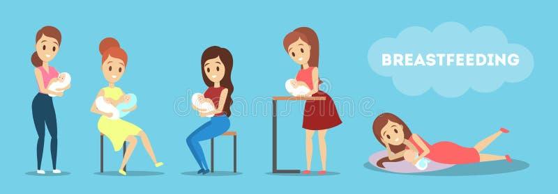 哺乳她的新生儿集合的母亲 育儿想法  向量例证
