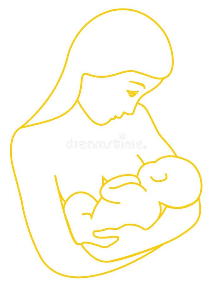 哺乳她的母亲的婴孩 皇族释放例证