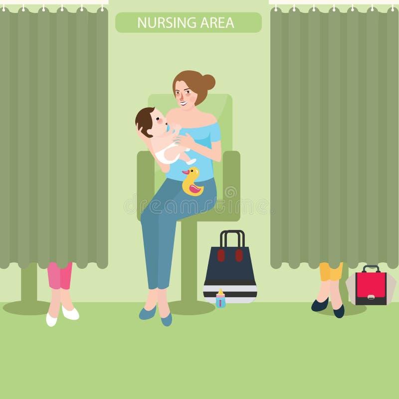 哺乳的哺乳期室设施公开区域护理婴孩 库存例证