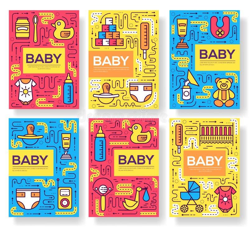 哺乳的星期小册子卡片稀薄的线集合 儿童模板flyear,杂志,海报,书套,横幅 格式 皇族释放例证