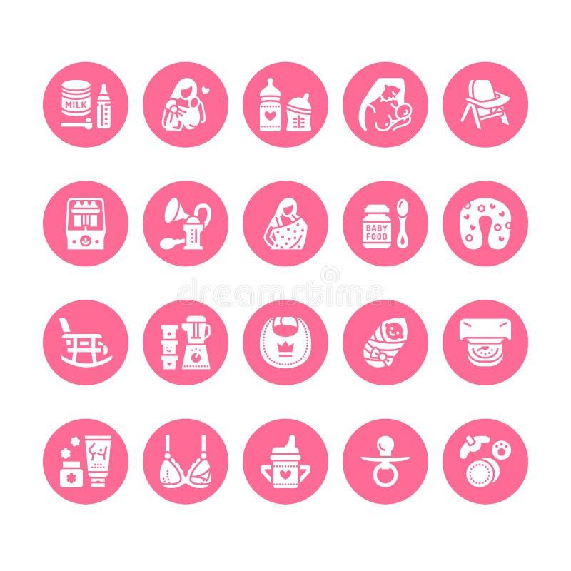哺乳,婴儿食品传染媒介平的纵的沟纹象 哺乳的元素-泵浦,妇女,孩子,搽粉了牛奶,装瓶 皇族释放例证