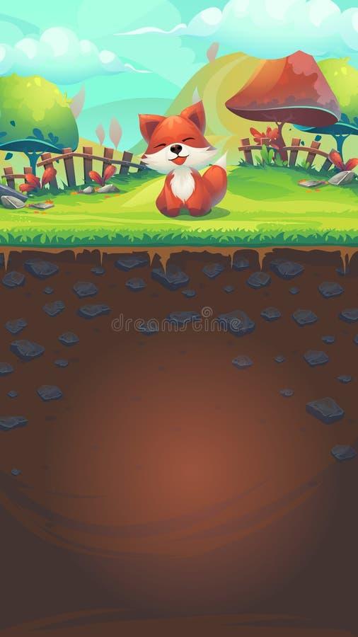 哺养狐狸GUI比赛3模板 向量例证