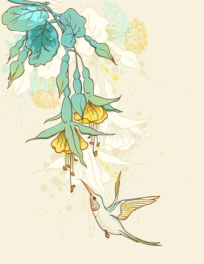 哼唱着鸟的花 库存例证