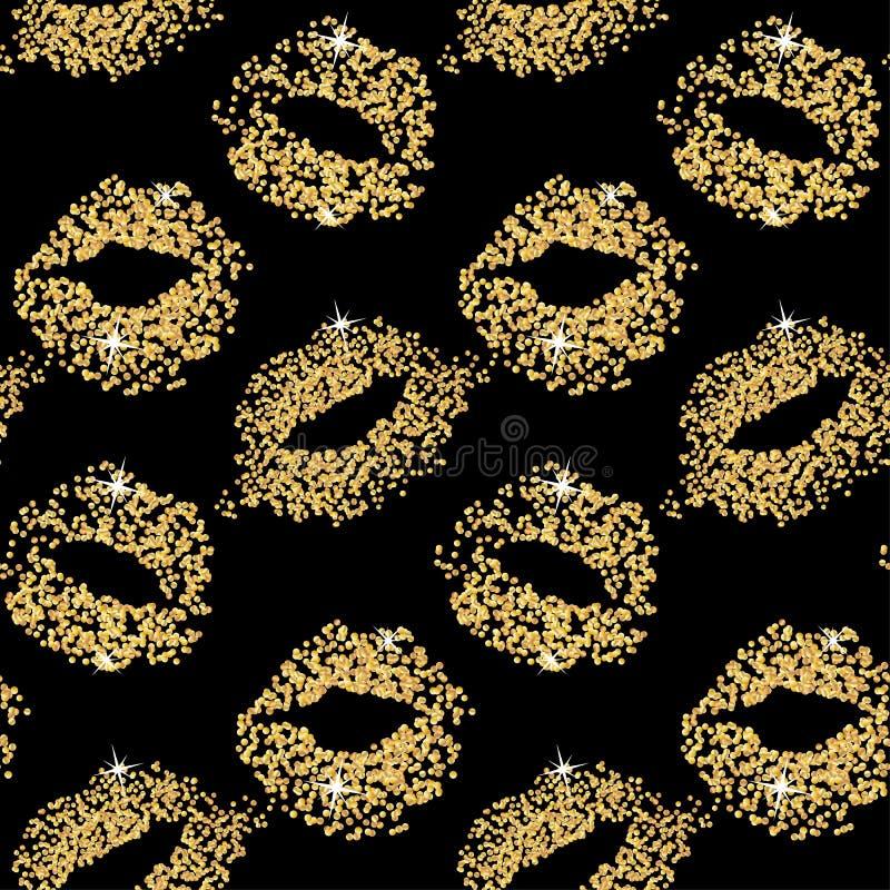 唇膏亲吻闪烁无缝的背景 金微粒纹理,发光的魅力作用 向量例证