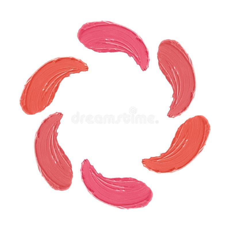 唇膏冲程设置了,做样片用被隔绝的珊瑚和桃红色不同的树荫在白色背景 免版税库存照片