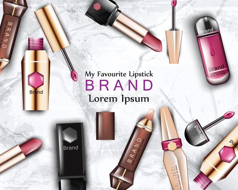 唇膏化妆用品被设置的传染媒介 现实详细的美容品嘲笑  产品成套设计标签品牌 向量例证