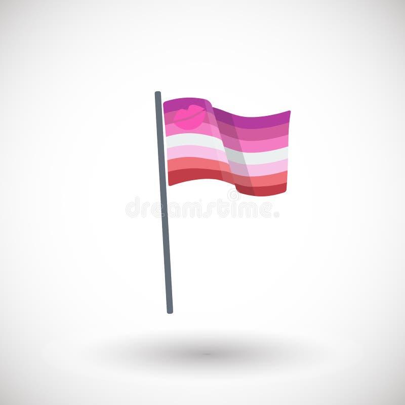 唇膏女同性恋的自豪感旗子平的象 库存例证