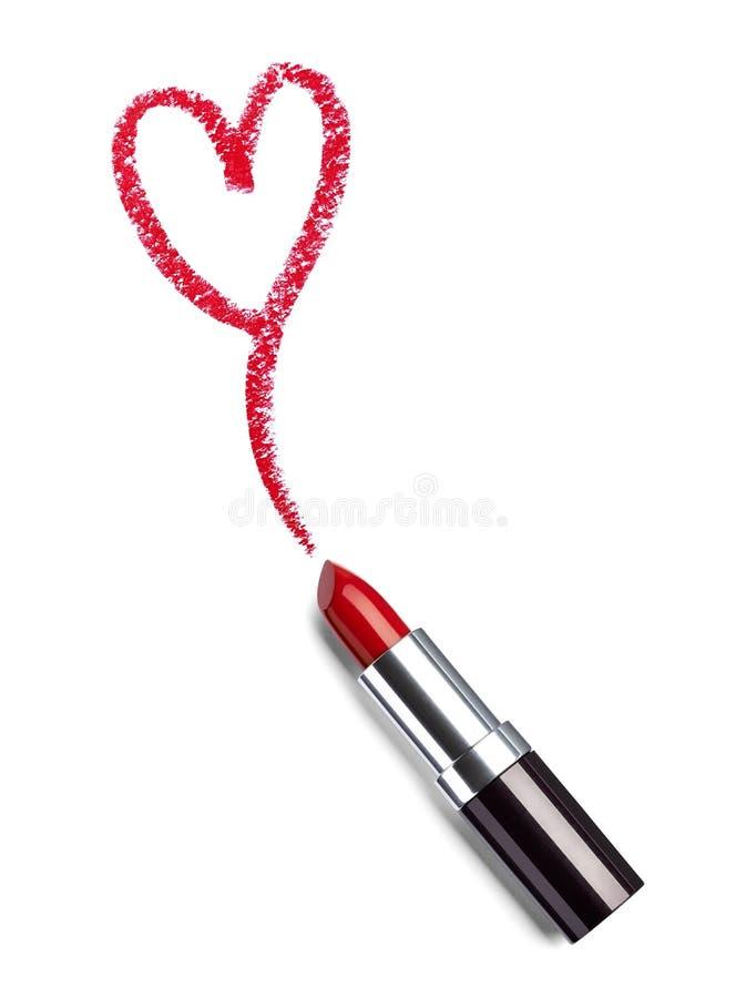 唇膏秀丽组成心脏爱 库存图片