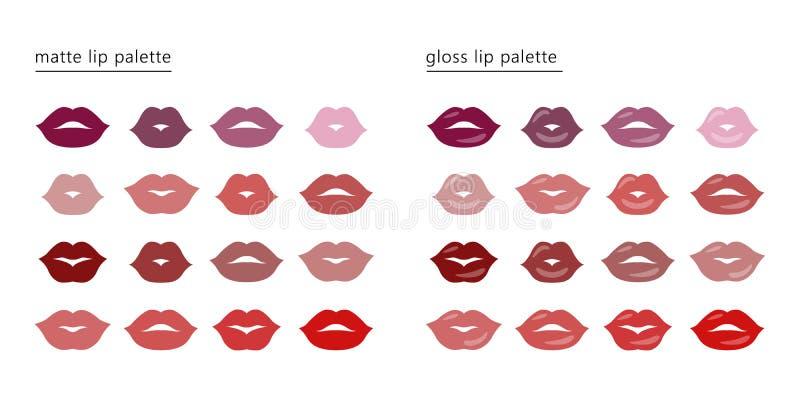 唇膏色板显示 设置女性性感的美丽的嘴唇 库存例证