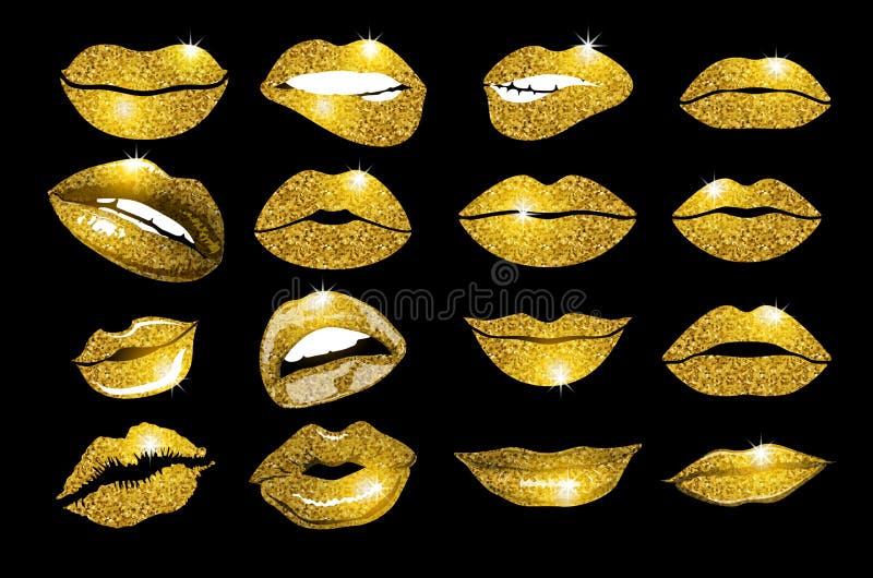 嘴唇金集合 设计闪烁元素 向量例证