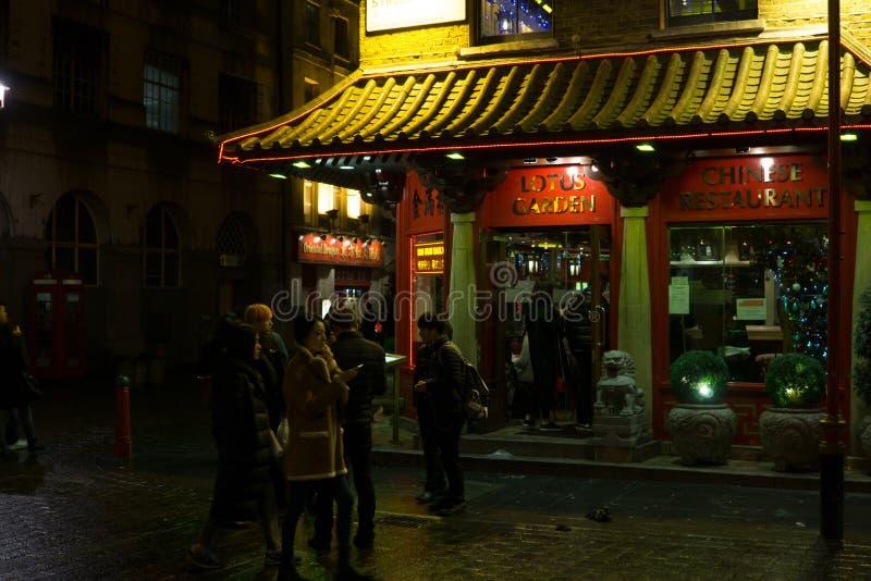 唐人街区在晚上在科文特花园,西部伦敦 免版税图库摄影
