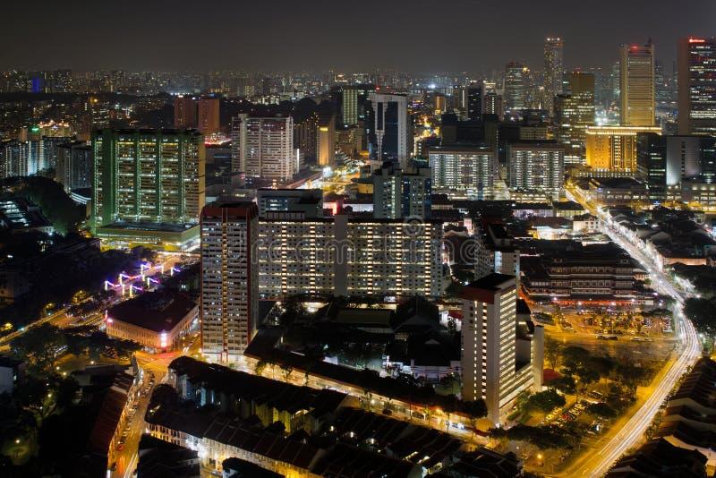 唐人街都市风景晚上新加坡 库存图片