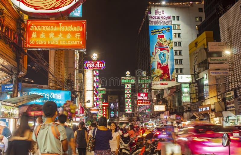 唐人街,曼谷,泰国- 2018年5月29日:夜光和餐馆世界` s第一条食物街道 唐人街曼谷Tha 免版税图库摄影