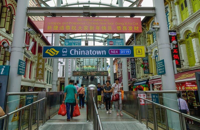 唐人街MRT驻地在新加坡 免版税图库摄影