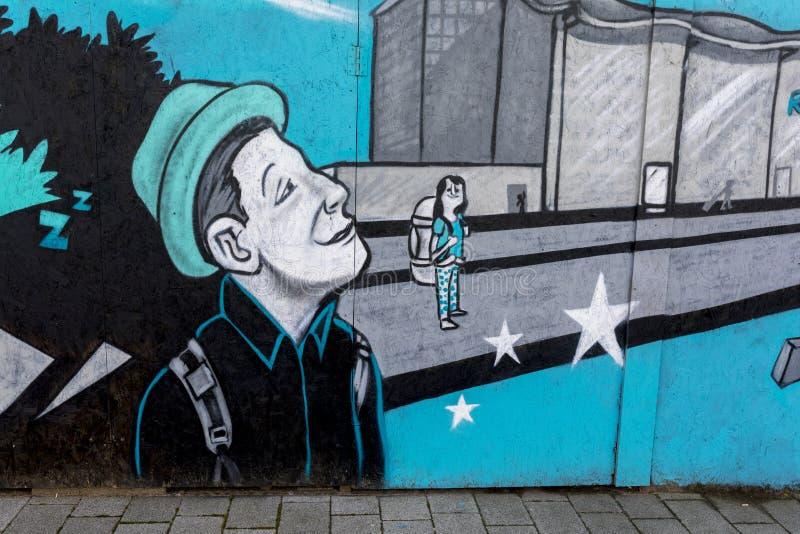 唐卡斯特街道艺术墙壁上的唐卡斯特罗宾汉机场 库存照片