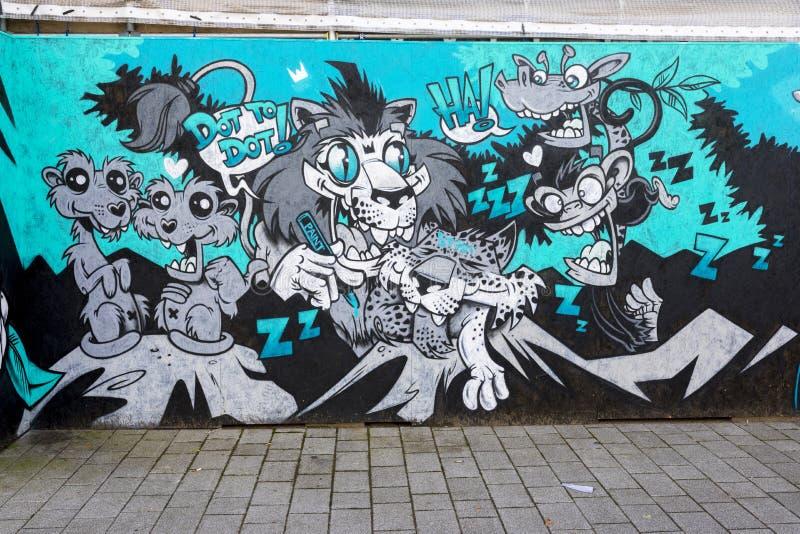 唐卡斯特街道艺术墙壁上的疯狂的动物 免版税库存图片