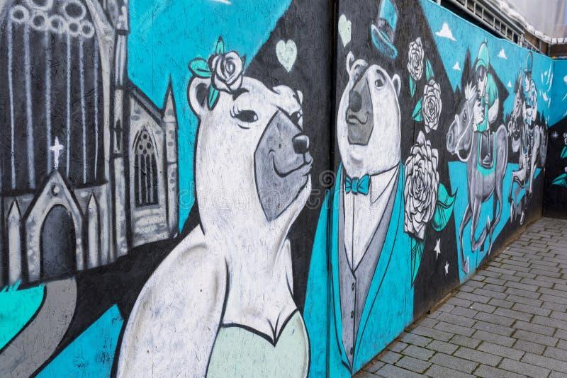 唐卡斯特街道艺术壁画,圣Leger Fesival,约克夏野生生物 库存照片