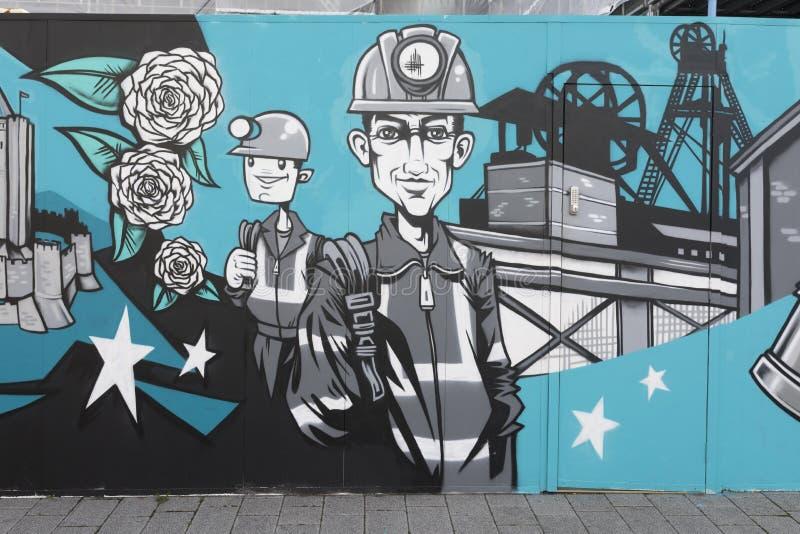 唐卡斯特街道艺术壁画,在煤矿之外的矿工 免版税图库摄影