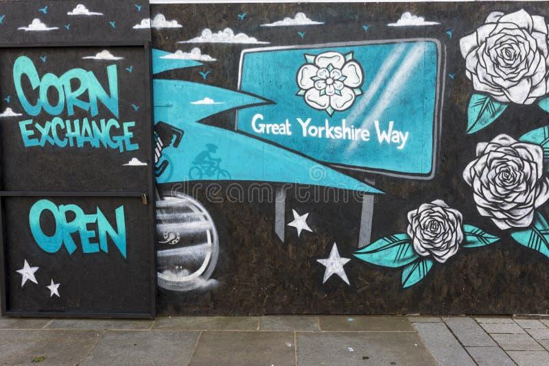 唐卡斯特街道艺术壁画,谷物交易所,市场 免版税库存照片