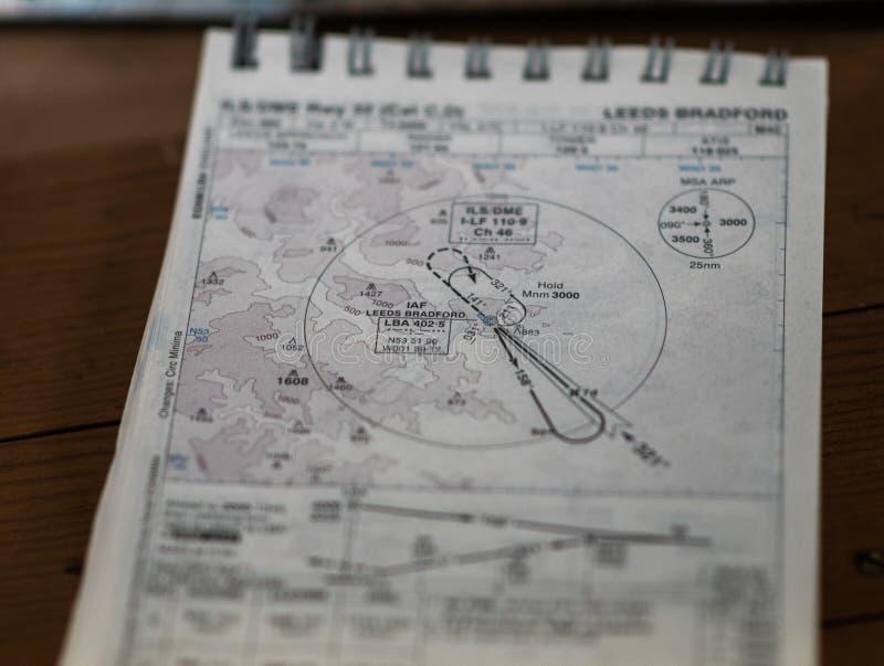 唐卡斯特,英国- 2019年7月28日:关闭从利兹布雷得佛机场的一张老WW2皇家空军机场地图 免版税库存照片
