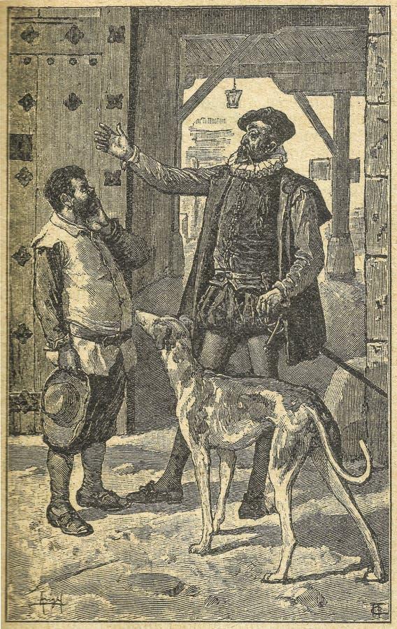 唐吉诃德允诺了Sancho Panza作为士绅 免版税图库摄影