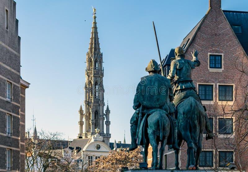 唐吉诃德和Sancho Panzain布鲁塞尔,比利时雕塑  库存图片