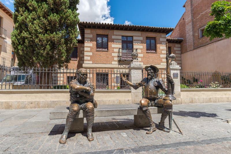 唐吉诃德de la Mancha和Sancho Panza雕象  免版税库存照片
