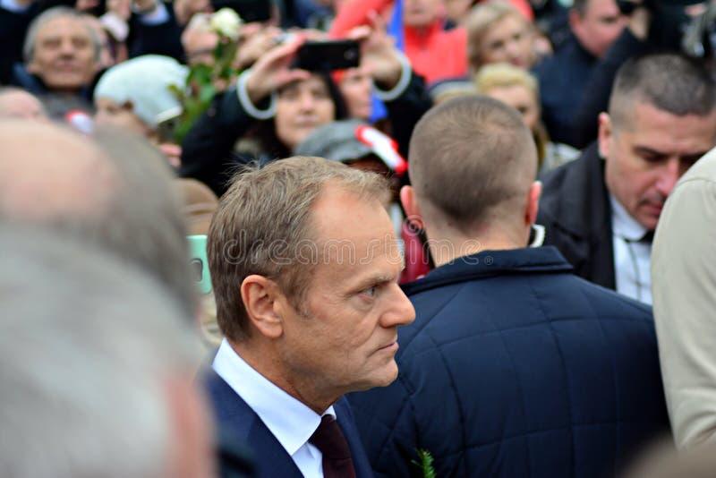 唐纳德・图斯克欧洲理事会礼物的总统在Polands全国美国独立日期间的华沙 库存图片