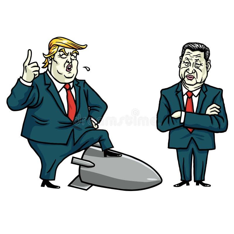 唐纳德・川普和习近平 外籍动画片猫逃脱例证屋顶向量 2017年7月29日