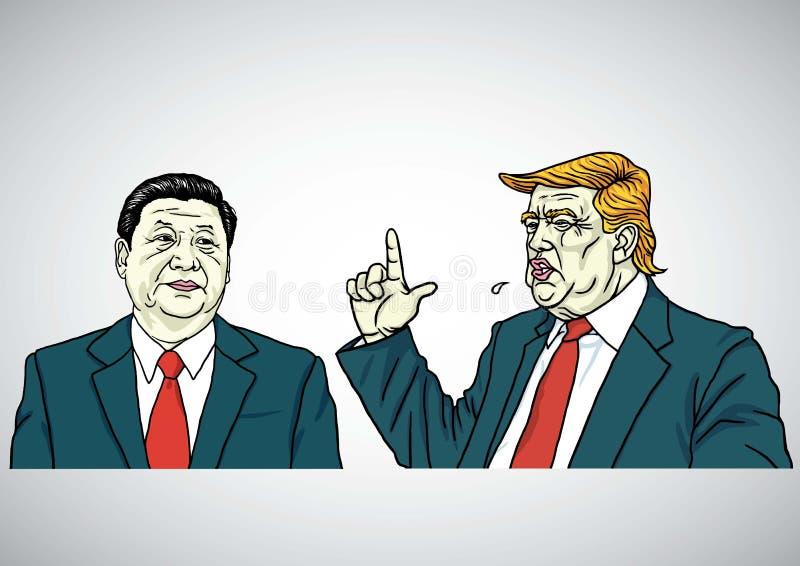 唐纳德・川普和习近平画象 美国和中国 外籍动画片猫逃脱例证屋顶向量 2017年7月29日