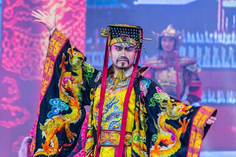 唐代舞蹈和音乐显示-羡,中国 库存照片