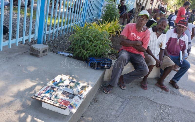 售报纸机,霍尼亚拉,所罗门群岛 免版税库存照片