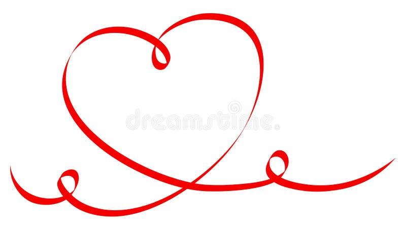 唯一大红心书法两个漩涡 向量例证